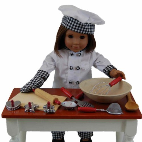 18\' Doll Clothes for American Girl Doll, Complete Chef Outfit with 11pc Kitchen Tool and Baking Set by The Queen\'s Treasures natcha fon