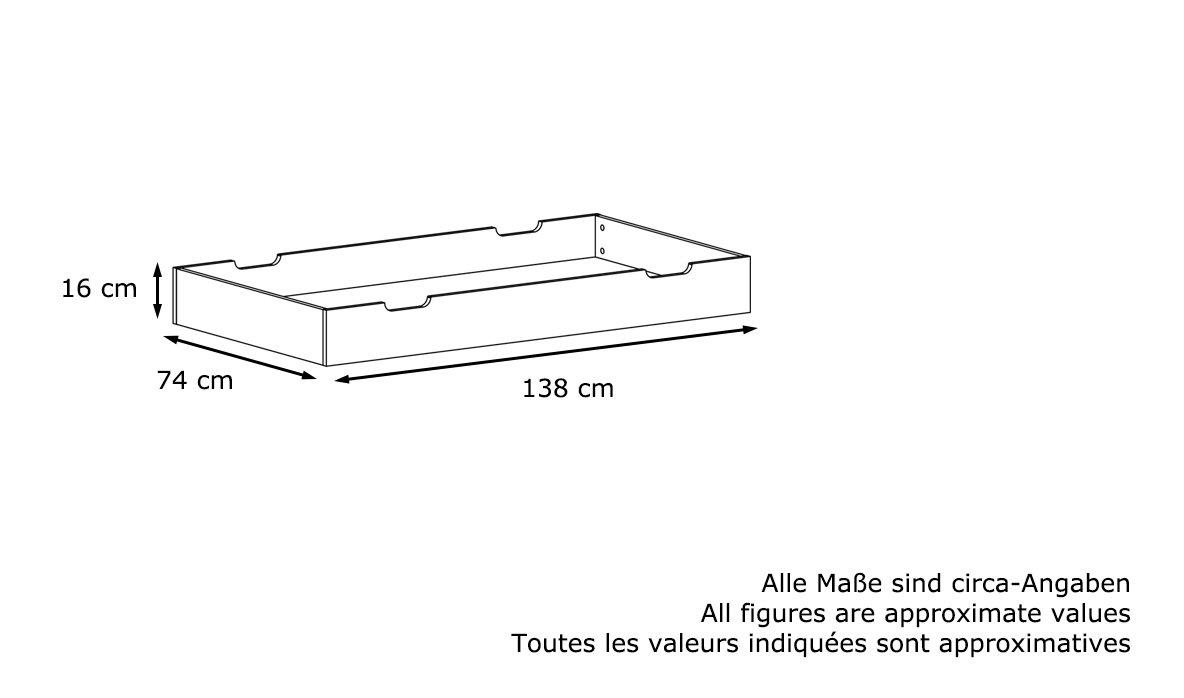 Vladon Tiroir de Lit Rangement sous-Lit B/éb/é Nandini en Blanc Mat