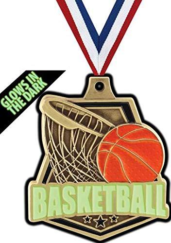 Crown Awardsゴールドバスケットボールメダル - 2インチ 暗闇で光る バスケットボール キャプテンメダル プライム B07GT8L9Y9  100