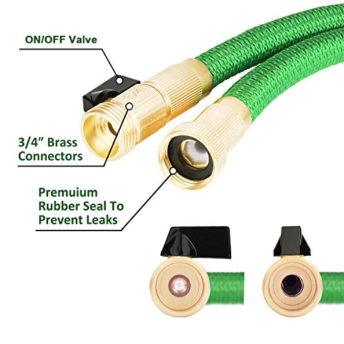 "Expandable Garden Hose, Amtake 50ft Expanding Water Hose with 3/4"" Solid Brass Fittings Triple Latex Core, Flexible Water Hose with Free Storage Bag"