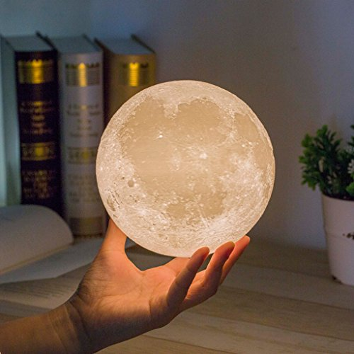 Mydethun Moon Lamp Moon Light Night Light for Kids Gift for Women USB Charging and Touch Control Brightness Warm and Cool White Lunar Lamp(4.7 in Moon lamp with Stand)