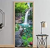 photo wall murals  3D Garden Landscape Door Sticker Mural Photo Self Adhesive Wall Sticker Decal 30.3x78.7