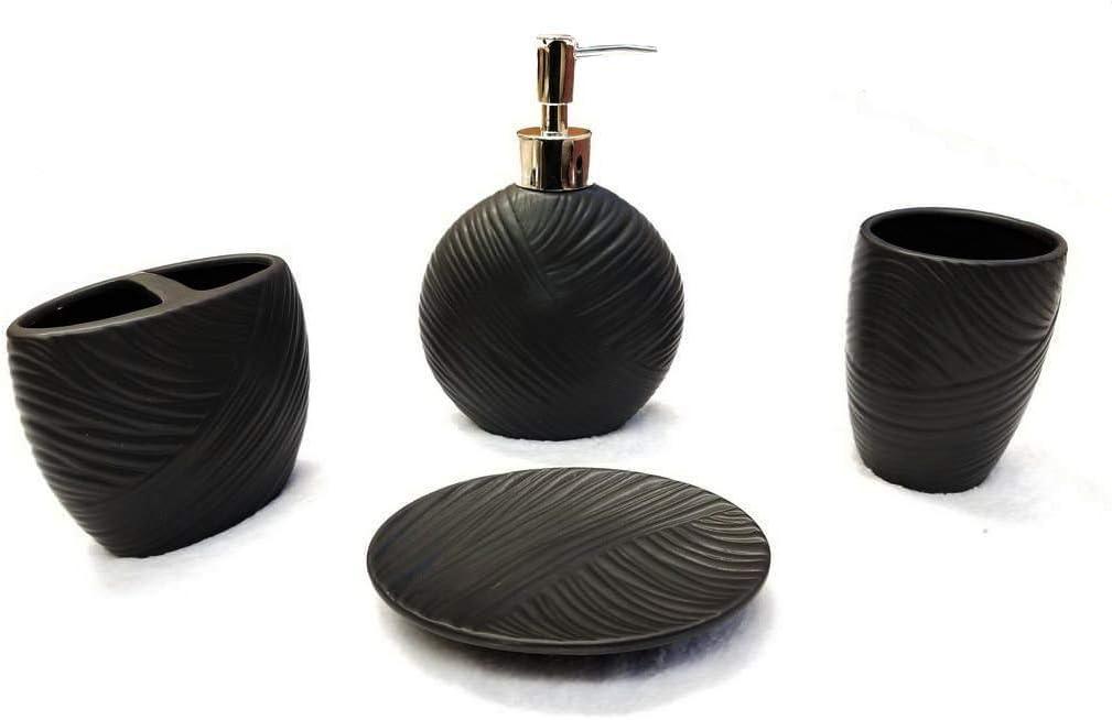 Empire Home Shell 4-Piece Bathroom Accessory Ceramic Set - Lotion Dispenser/Tumbler / Toothbrush Holder/Soap Dish (Black)