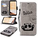 Misteem Cartoon Case Samsung Galaxy S8 Plus, Cute Retro Panda Pattern Leather Cases Flip Shockproof Card Holder Bookstyle/Stand / Magnetic Wallet Cover Protector Samsung Galaxy S8 Plus - Panda Grey