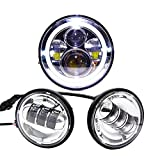 "Wisamic 7"" LED Projection Daymaker Headlight Angle Eyes with Amber Signal Halo DRL Halo + 2pcs 4-1/2"" 4.5"" Fog Lights Passing Lamps for Harley Davidson Motorcycle (Silver)"