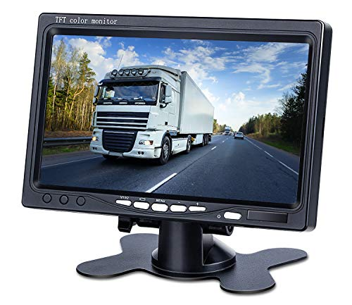 Upgrade Backup Camera Monitor 7 Inch Rearview Reversing LCD Monitor, 1280X720P Resolution Screen, Two Video Input Plug V1/V2 Car Rearview Cameras,- HD Transmission, 【Just a Monitor】 - DVKNM (DBT)
