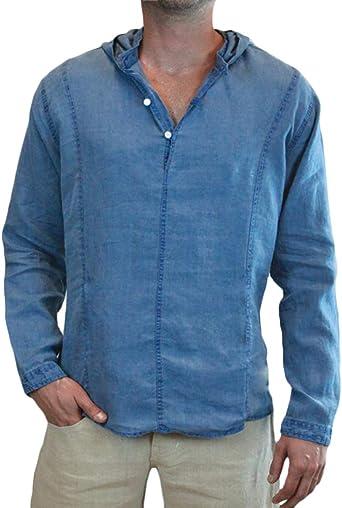 ShallGood Camisa Hombre Cuello Mao Lino Blusa Manga Larga Slim Fit Color Sólido Blusas Cuello En V Camisetas Cómodo Transpirable con Capucha: Amazon.es: Ropa y accesorios