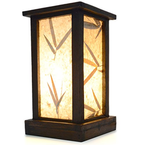 FAI Wood Frame and Paper Shade Rustic Accent Table Lamp, 10.5 Inch Bamboo Leaf Shade