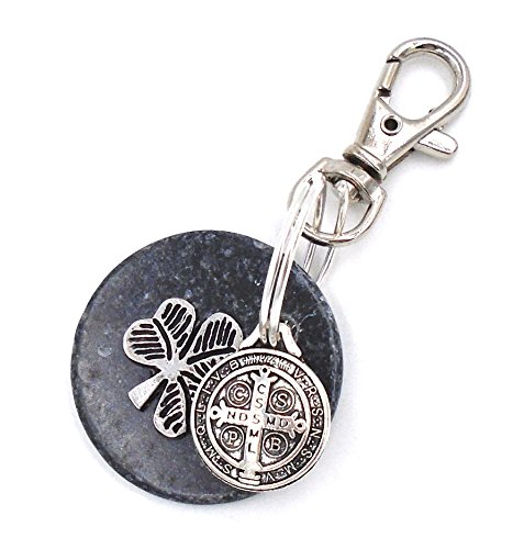 (Kilkenny Marble Irish Shamrock Design Keychain with Saint Benedict Charm)