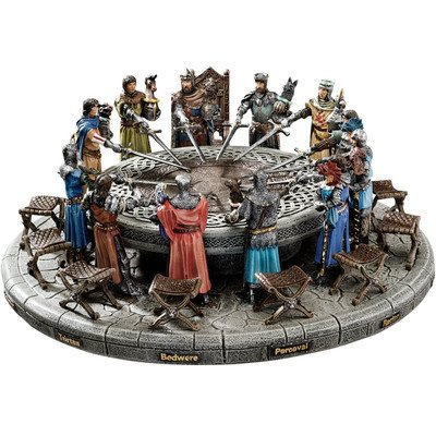 Design Toscano King Arthur and the Knights of the Round Table Medieval Statue Set Includes 12 Knights, 12 Chairs and Table Display , 13 Inch, Polyresin, Full Color