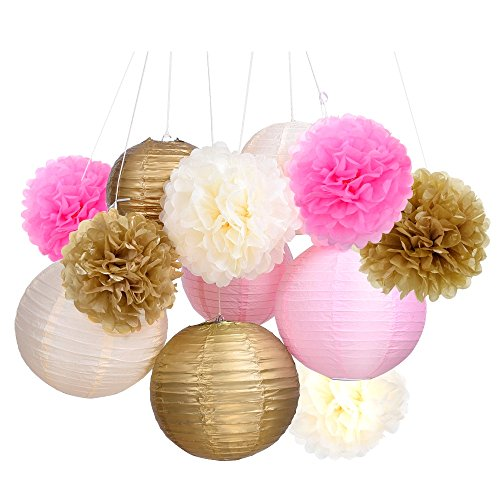 Pink and gold flowers for party decoration amazon outus tissue paper pom pom flowers and paper lanterns party decoration 12 pieces mightylinksfo
