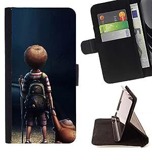 BullDog Case - FOR/Samsung Galaxy S4 IV I9500 / - / Loneliness Boy /- Monedero de cuero de la PU Llevar cubierta de la caja con el ID Credit Card Slots Flip funda de cuer