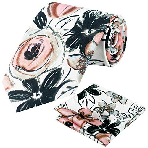 Flower Ties for Men White Black Pink Tie Silk Handkerchief Cufflinks Wedding