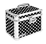 Vaultz Locking Personal Storage Box, 9.8 x 8 x 6.8 Inches, Black and White Polka Dot (VZ03714)