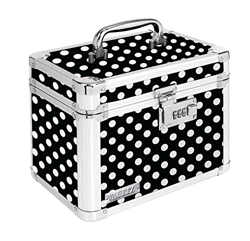 Vaultz Locking Personal Storage Box, 9.8 x 8 x 6.8 Inches, Black and White Polka Dot ()