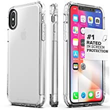 iPhone X/XS Case, SaharaCase Inspire Protection Kit Bundle with [ZeroDamage Tempered Glass Screen Protector] Heavy Duty Protection Hard Back and Shockproof Bumper (Clear)