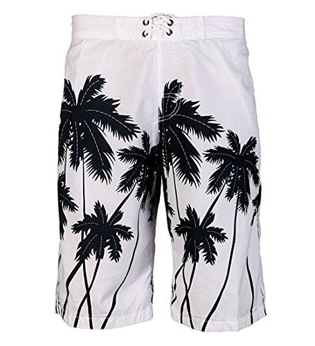 APTRO Men's Board Shorts Swimming Trunks Beach Surf Hawaiian Shorts (38, White) (Shorts Surf Hawaiian)