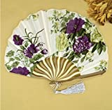 Colorful 50Pcs/Lot Printed Personalized Delicate Packaging Japanese Flower Floral Fabric Folding Hand Fan Wedding Favors