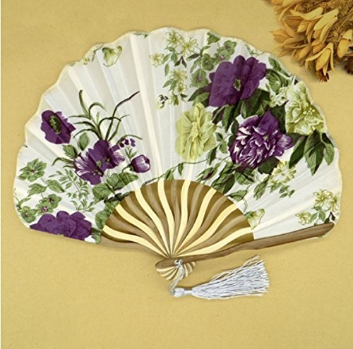 Colorful 50Pcs/Lot Printed Personalized Delicate Packaging Japanese Flower Floral Fabric Folding Hand Fan Wedding Favors by Hand Fan