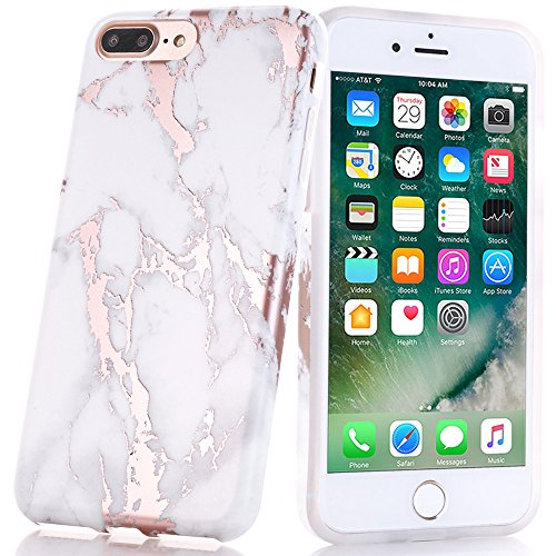 - BAISRKE Shiny Rose Gold Marble Design Clear Bumper Matte TPU Soft Rubber Silicone Cover Phone Case Compatible with iPhone 7 Plus iPhone 8 Plus White
