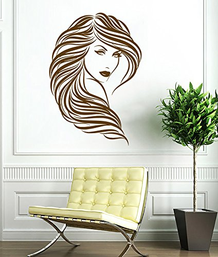 Woman Face Wall Decal Curly Hair Beautiful Girl Decals Vinyl Sticker Home Interior Decor