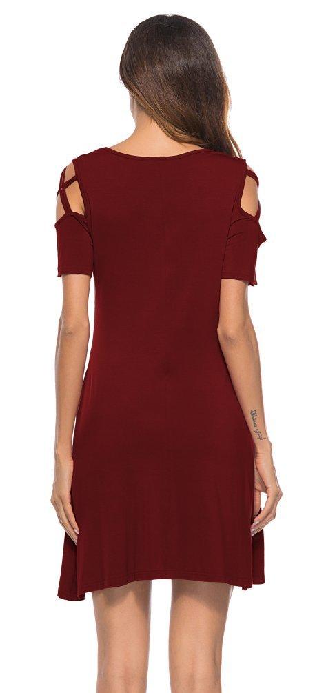 Womens Short Sleeve Cold Shoulder Dresses Pockets Strappy Casual T Shirt Dress Burgundy L