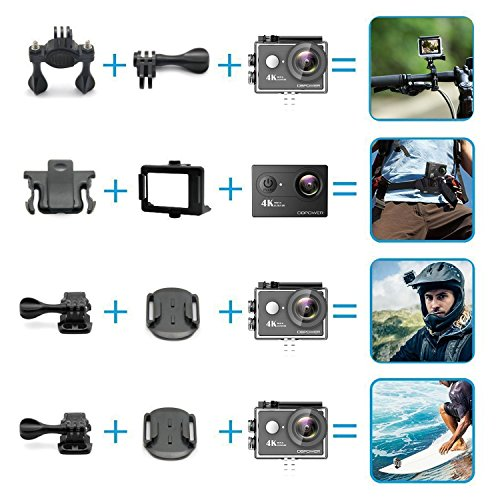 51v2gDFMBBL - DBPOWER 4K Action Camera 12MP Ultra HD Waterproof Sports Cam with Built-in WiFi 170 Degree Wide Angle Lens 2 Inch LCD Screen Plus 1050mAh Rechargeable Battery (Camera+Accessories)