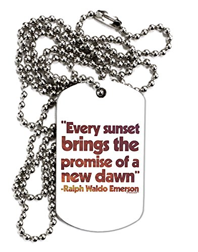 TooLoud Emerson Sunset Quote Adult Dog Tag Chain Necklace – 12 Pieces