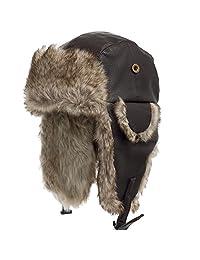 ULTRAFINO Ushanka Trooper Russian Pilot Aviator Leather Winter Trapper Hat SIZES