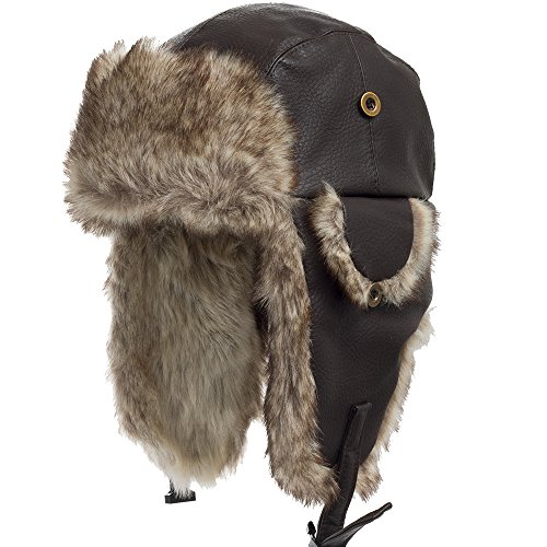 Leather Pilot Cap - Ushanka Trooper Russian Pilot Aviator Leather Winter Trapper Hat BROWN 7 1/2