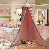 Personalised Children Bed Canopy Round Dome, Girls Nursery Decorations, Cotton Mosquito Net, Kids Princess Play Tents, Teepee Room Decoration for Baby (Pink)