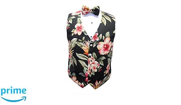 Hawaiian Awaphu Plumeria Floral Paradise Tuxedo Vest and Bow Tie Kokio