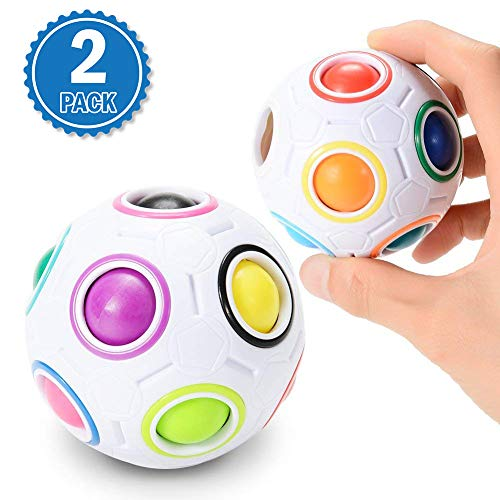 (Emorefun 2 Pcs Magic Rainbow Ball Challenging Puzzle Cube Fidget Toy 3D Intelligence Spherical Football Style Stress Relieve Ball for Kids)
