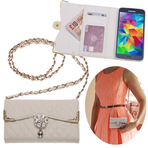 Xtra-Funky Range Samsung Galaxy S7 Luxury Faux Leather Quilted Handbag Purse Case with Carry strap and Beautifully Decorated Crystal Flower - White (Includes a Mini Stylus and LCD Screen - Baker Designers Ted Like
