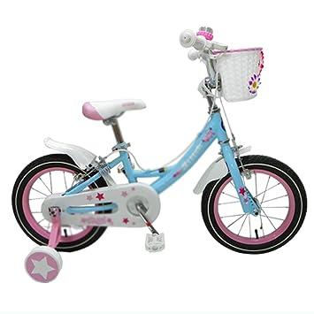 Bicicletas niños 12/14/16 Pulgadas Chica Cochecito Alta Elasticidad Cómodo Asiento Seguridad Doble Freno (Color : Blue, Size : 14(97 * 16 * 52cm)): ...
