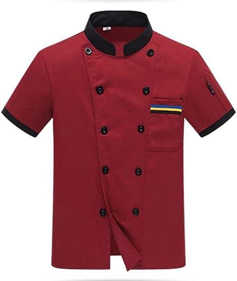 XSMG Camisa Unisex Chef Chaqueta Arrugas Resistente Confortable Mangas Cortas Camiseta Cocina Uniforme,01,XXL: Amazon.es: Deportes y aire libre