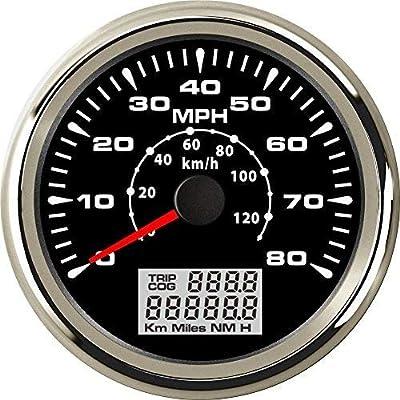 ELING Marine Auto MPH GPS Speedometer Odometer 80MPH Speed Gauge with ODO COG Trip 85mm: Automotive