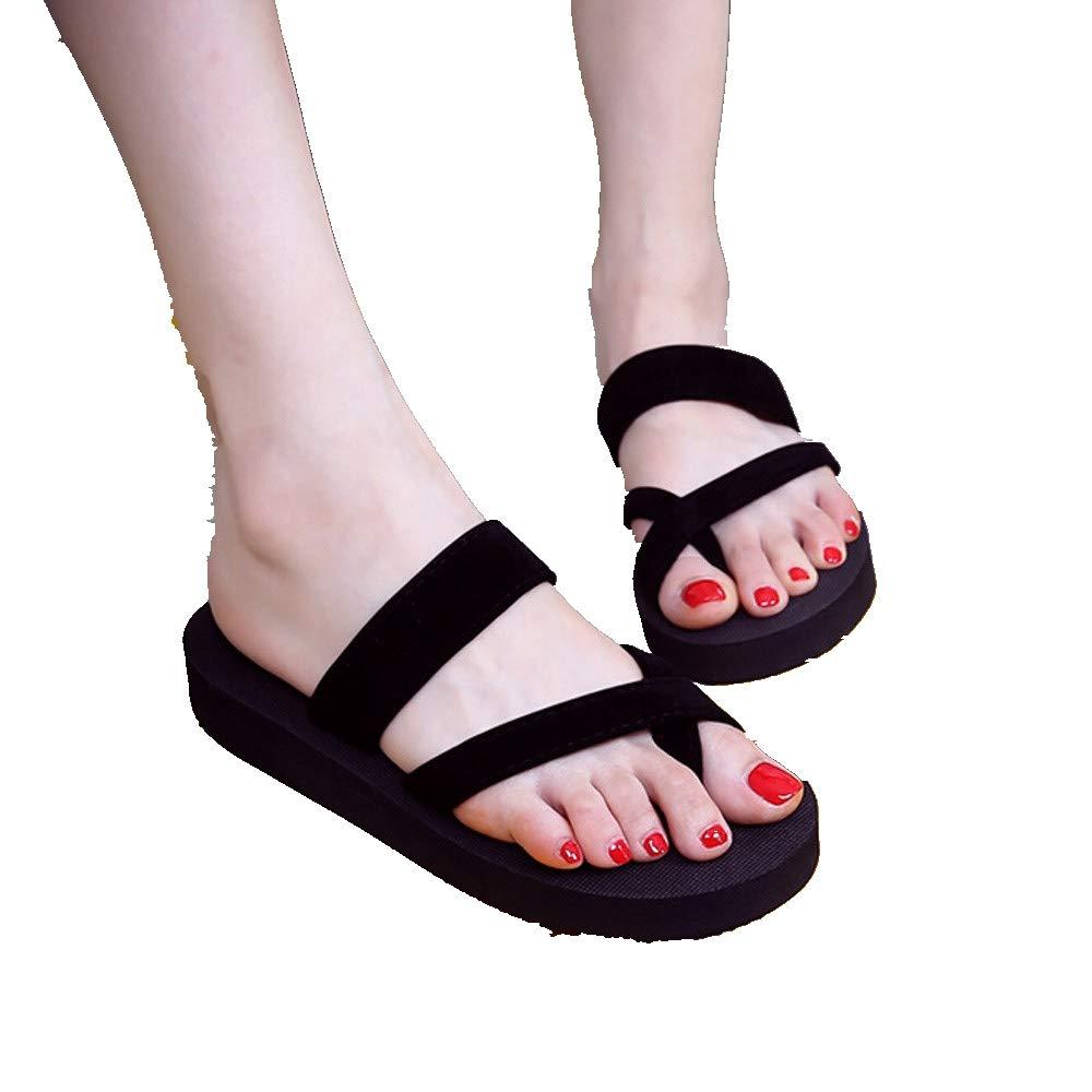 Women's Soft Yoga Foam Flip Flops,Summer Beach Non-Slip Slippers Clip Toe Sandals Shoes (US:5.5, Black)