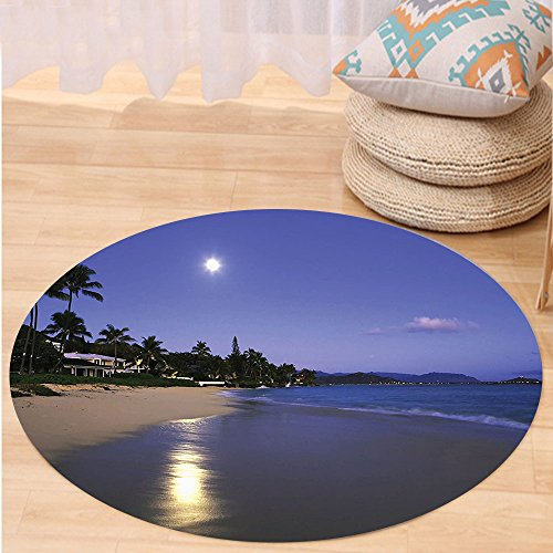 VROSELV Custom carpetHawaiian Decorations Collection Houses Clear Sky Full Moon and Moonlight Reflection at Daybreak on a Hawaii Beach Bedroom Living Room Dorm Navy Sand Round 79 inches by VROSELV