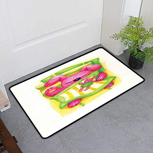 Welcome Door Mat, Cartoon Doormats for Living Room, Cute Baby Rabbit Sleeps in The Bed with Teddy Bear Bunny Cartoon Character (Green Yellow Pink, H16 x W24)