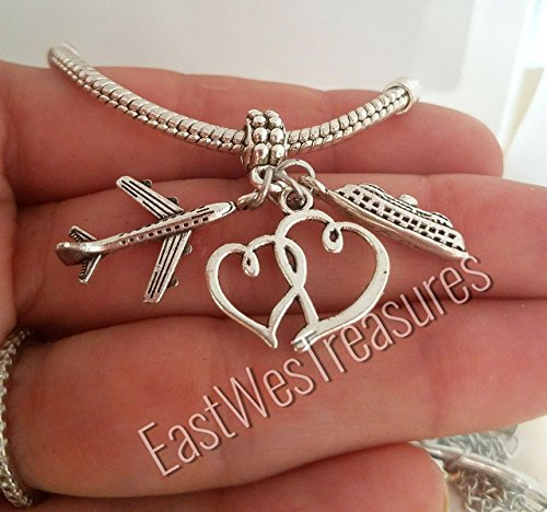 EWT Our hearts connect no matter where, Airplane, plane, cruise ship, all aboard Charm Pendant for all brand & European charm bracelet and any chain necklace