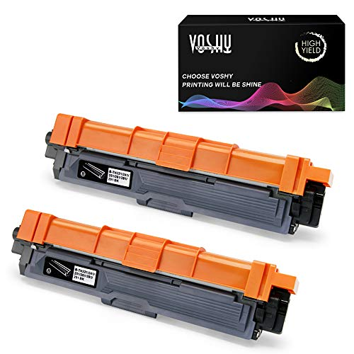 (Voshy Compatible TN221 TN225 Toner Cartridge Replacement for Brother TN221BK, Work with Brother HL-3170CDW MFC-9130CW MFC-9340CDW MFC-9330CDW HL-3140CW HL-3180CDW Toner, 2,500 Pages (Black, 2-Pack))
