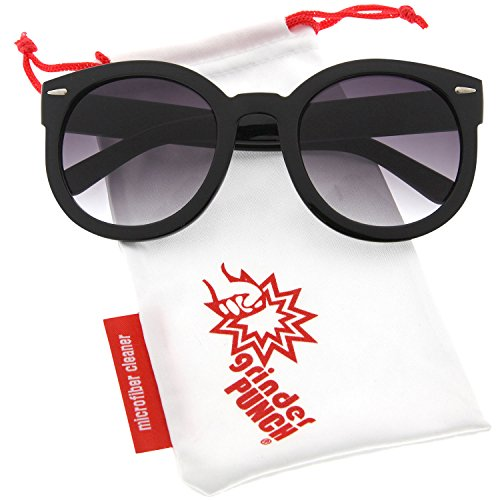 grinderPUNCH Women's Designer Inspired Mod Fashion Oversized Shaped Round Circle Sunglasses ()