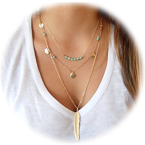 suyi-exquisite-sequins-multilayer-chain-turquoise-beads-necklace-with-feather-pendent-gold