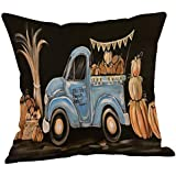 Halloween Decorations Pillows Case Pumpkin on Truck Pillowcases Thanksgiving Cushion Cover with Zipper 18 x 18 inch (15)