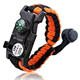 Survival Bracelet, EZ Turbo 20 in 1 Survival Paracord Bracelet, Survival Gear Kit with SOS LED Light, Emergency Knife, Whistle, Compass, Fire Starter for Camping, Climbing, Waterproof, Orange