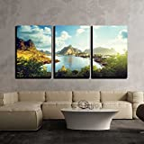 """wall26 - 3 Piece Canvas Wall Art - Reine Village, Lofoten Islands, Norway - Modern Home Decor Stretched and Framed Ready to Hang - 24""""x36""""x3 Panels"""