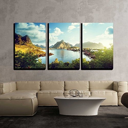 Reine Village Lofoten Islands Norway x3 Panels
