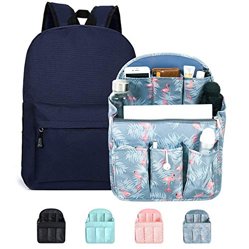 Diaper Bag Insert For Backpack, Pulama Stand Up Large Backpack Organizer for Women Flamingo