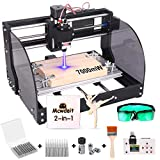 2-in-1 7000 m W 3018 Pro-M CNC Router Kit, GRBL Control 3 Axis Wood Plastic Acrylic PCB MDF Carving Milling Engraving Machine with Offline Controller, CNC Router Bits, ER11 Collects (Tamaño: Extra Large)